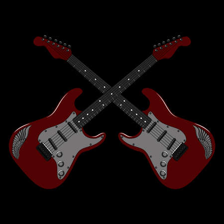 Two red electric guitars with wings. Vector image on a black background. Ilustração