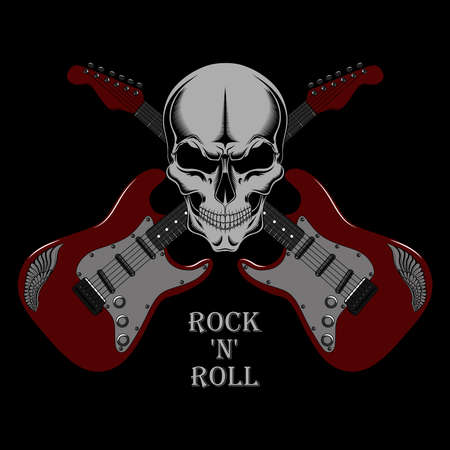 Vector image of a red guitars with a skull. Image on a black background.