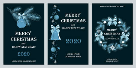 Set of templates for greeting cards for Christmas and New Year. Branches of spruce, wreath, Christmas balls, stars, snowflakes. Set of vector elements for cards, banners, flyers, posters, invitations.