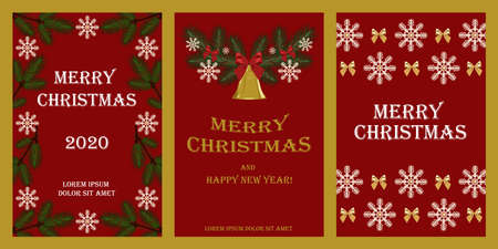 Set of vector cards for Christmas and New Year. Snowflakes, bows, branches of spruce, bell. Design elements for cards, flyers, banners, posters.