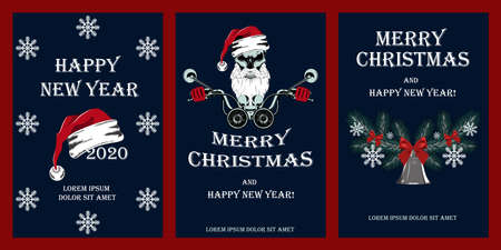 Set of vector illustrations for christmas and new year. Skull in a hat of a santa claus driving a motorcycle, snowflakes, christmas wreath. Set of design elements for posters, cards, flyers, banners.