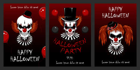 Set of vector illustrations with clowns for Halloween. Evil clowns. Design elements for cards, flyers, banners, invitations, posters, posters. Ilustração