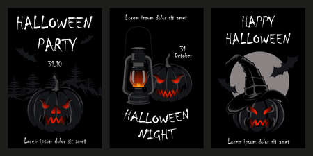 Set of vector illustrations with pumpkins for Halloween. Angry pumpkin. Set of elements for cards, flyers, banners.