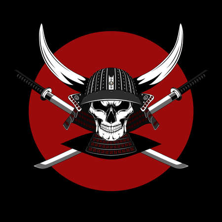 Skull of a samurai in a helmet with swords. Vector image on a black background.