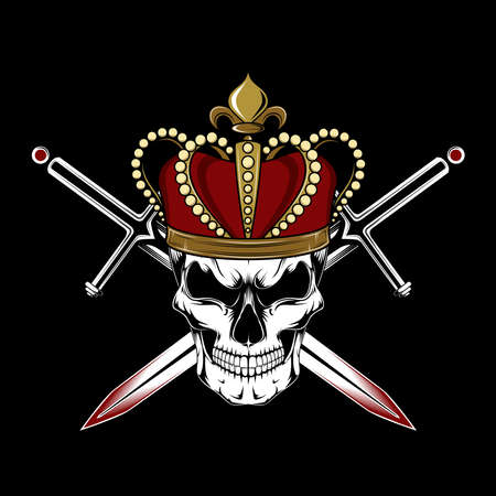 Vector image of a skull in a crown. Skull, swords, crown. Image on a black background.