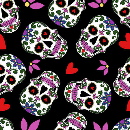 Seamless texture with mexican skulls, hearts, flowers. Vector image on a black background.