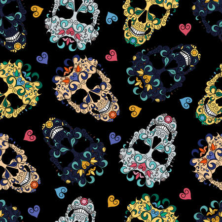 Seamless texture with the image of multi-colored Mexican skulls and hearts. Skulls decorated with floral ornaments. Image on a black background.