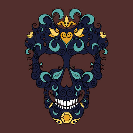 Skull with floral ornaments. Mexican skull. Vector image on a brown background. Ilustração