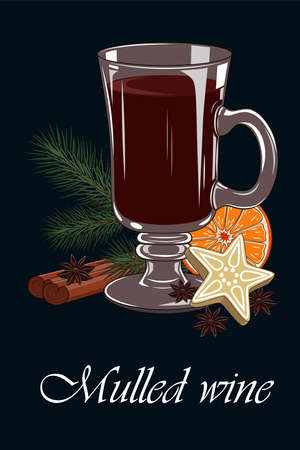 Vector image of a glass of mulled wine. Mulled wine, spruce branch, cinnamon, orange. Image on a blue background.
