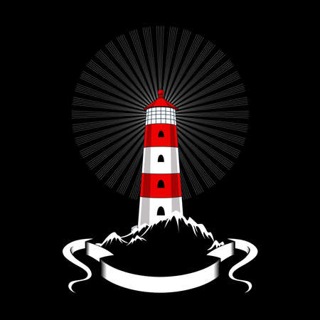 Vector image of a lighthouse on a black background.