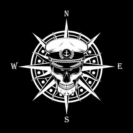 Vector image of a wind rose with a skull of a sea captain. Black and white vector image. Image on a black background.