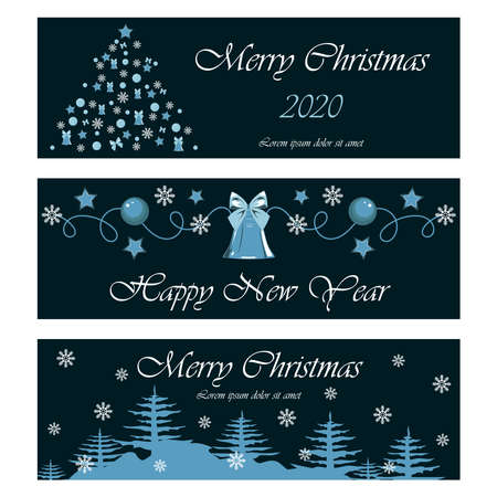 Set of banners for Christmas and New Year. Christmas tree, pattern, bell, forest, snowflakes. Vector images on a blue background. Design elements for banners, flyers, illustrations, cards.