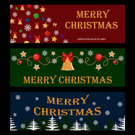 Set of vector christmas banners. Christmas trees, Christmas balls, bells, bows, stars, pattern. Design elements for banners, flyers, cards, illustrations.