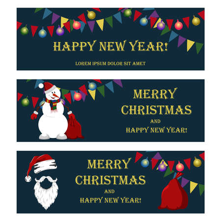 Set of vector christmas illustrations. Christmas garlands, Christmas balls, snowman, Santa Claus hat, beard, mustache, bag with gifts. Set of elements for banners, flyers, cards.