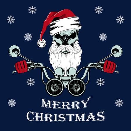 Vector image of a santa claus skull driving a motorcycle. Illustration on a blue background. Ilustração