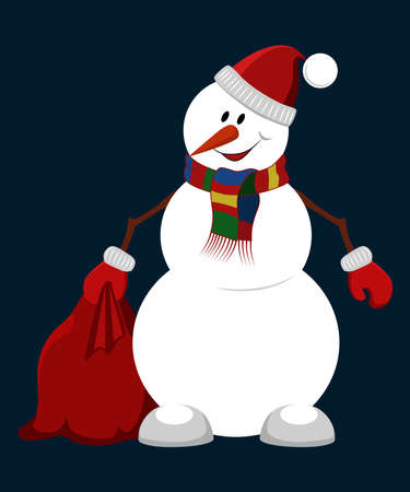 Vector image of a snowman. Cheerful snowman in a hat and scarf with a bag with gifts. Vector image on a blue background. Ilustração