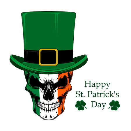 Skull in a green hat. Vector image on white background.