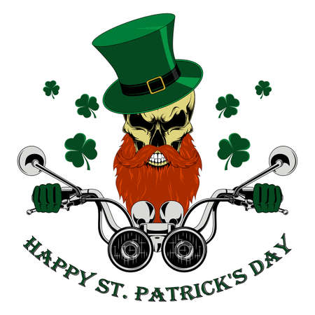 Skull with a beard and mustache in a green hat driving a motorcycle. Congratulations on the day of St. Patrick.