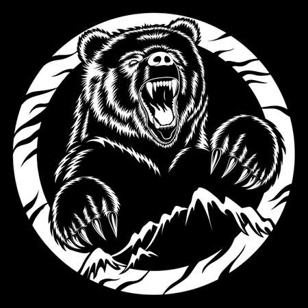 Angry bear and mountains. White vector image on black background.