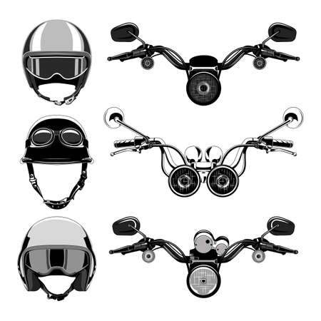 Set of vector images of motorcycle handlebars and motorcycle helmets.