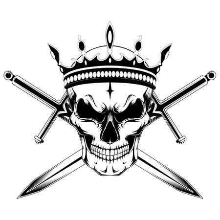 Skull in the crown with swords. Black and white image on a white background.