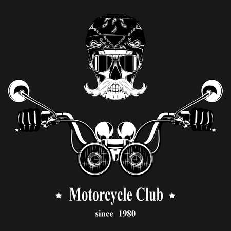 Vector image of a skull with a mustache in glasses driving a motorcycle on a gray background. Motorcycle Club.