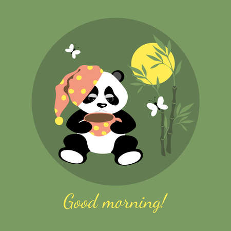 Little cute panda is drinking coffee in the morning. Illustration for children. Vector image on a green background.