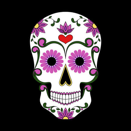 Mexican skull decorated with flowers. Vector image to the day of the dead. Ilustração Vetorial