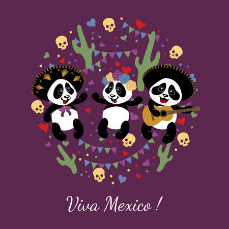 Little funny pandas have fun at the festival. Children's illustration is decorated with confit, garlands, skulls, cacti.