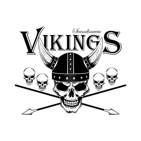 Black and white vector image of a skull in a Viking helmet with arrows.