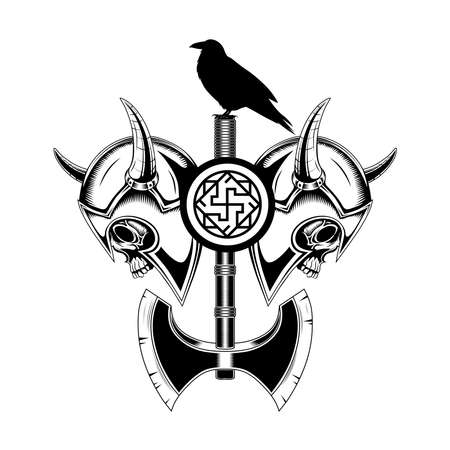 Skulls in Viking helmets with an ax and a black raven. Monochrome vector image on a white background.