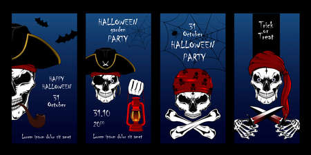 Set of vector cards for Halloween. Pirate skulls, pirate captain, motros. A set of elements for cards, banners, flyers, posters.