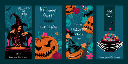 Set of cards for halloween. Vector image of a conjuring witch, pumpkins, candies, leaves, cobwebs, skulls. Eliminations for design, for cards, banners, flyers. 矢量图像