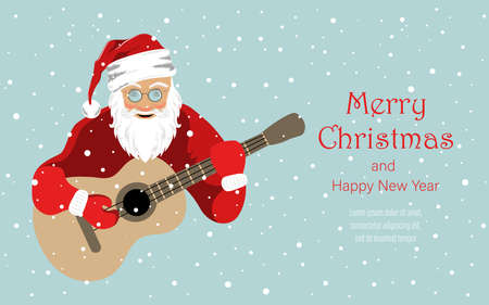 Cheerful Santa Claus plays the guitar. Background for covers, banners, flyers, splash screens. Merry Christmas and Happy New Year.