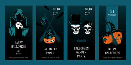Set of greeting cards for halloween. Templates for postcards, flyers, banners. Vector image of skulls and pumpkins. Иллюстрация
