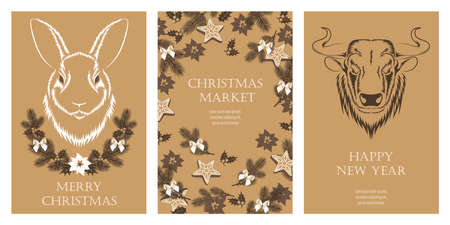 Set of vector greeting cards with merry christmas and happy new year. Design elements for greeting cards, flyers, banners, prints. 일러스트