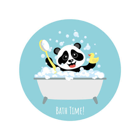 Little cheerful panda bathes in a bubble bath. Illustration for children.