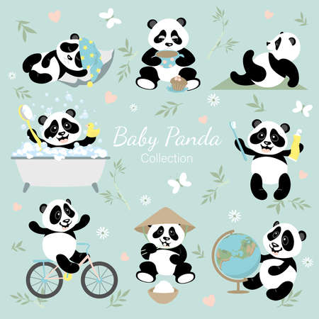 Baby panda collection. A set with little funny pandas. The panda studies, rides a bike, brushes his teeth, sleeps, bathes, drinks coffee, eats, and does exercises. Illustration for children.
