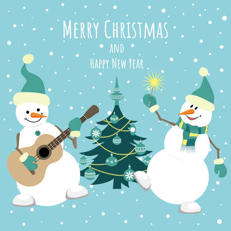 Two cheerful snowmen are dancing near the Christmas tree. Merry Christmas and Happy New Year. Template for postcards, flyers, banners. Illusztráció