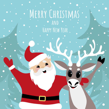 Vector image of a cheerful santa claus and a deer. Merry Christmas and Happy New Year greetings.