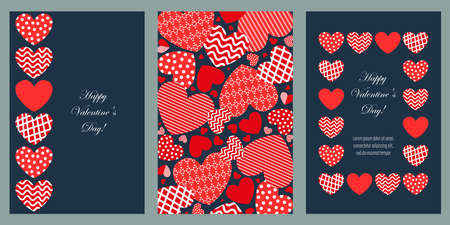 Set of cards with red hearts.Valentine's Day. Design elements for cards, flyers, banners. Иллюстрация
