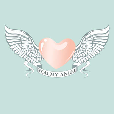 Pink heart with wings. Vector image for the day of lovers.
