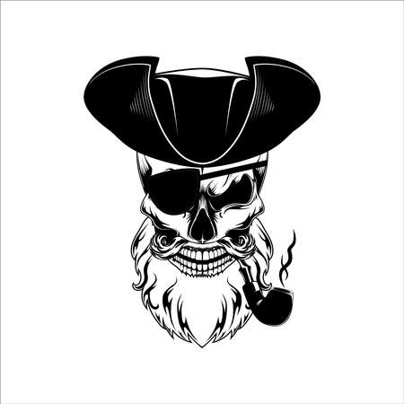Vector image of a pirate skull. The pirate smokes a pipe.