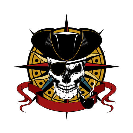 Skull of a pirate in a cocked hat and a smoking pipe. Vector image on the background of a wind rose.