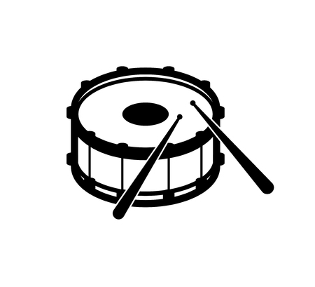 Isolated outline silhouette of icon snare drum with drumsticks, percussion musical instrument, vector illustration.