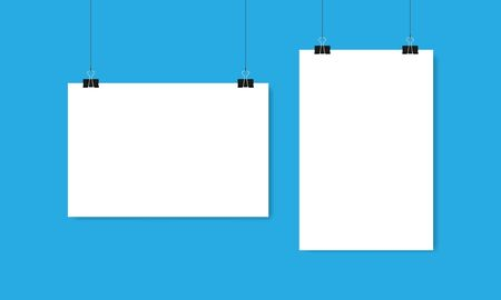Sheets of white paper horizontal and vertical hang on clips and threads on blue background. Vector illustration EPS 10 Illusztráció