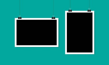 Blank horizontal and vertical photo frame hanging on a clip. Vector illustration EPS 10