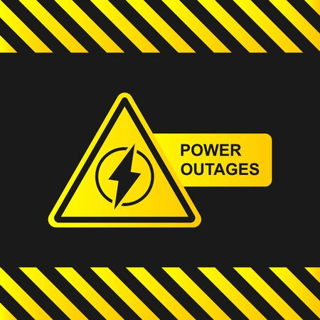 Power outage icon on a black background with stripes of attention. Yellow-black banner.