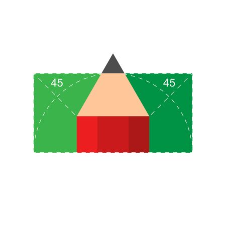 Illustration of a geometric lesson. Geometry lessons at school and university. Geometry symbol with 45 degrees angles and a pencil. Vector EPS 10 Ilustracja
