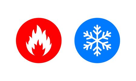 Symbol of warmth and cold. Heat and cold sign. Freezing and fire icon. Vector Illustration